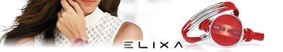 Elixa Damen Uhren mit farbigen Lederbaendern und dazu passendem Armband